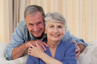 Old age couple with smiling teeth